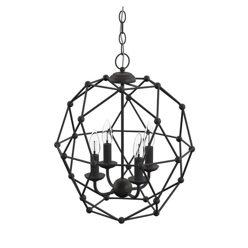 Current Cavanagh 4 Light Geometric Chandelier In Lindsey 4 Light Drum Chandeliers (View 7 of 30)