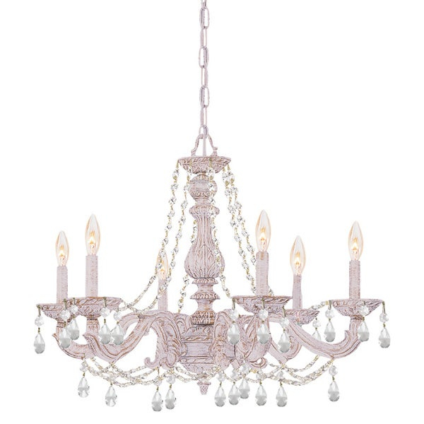 Current Crystorama Sutton 6 Light Antique White/ Crystal Chandelier Inside Sherri 6 Light Chandeliers (View 18 of 30)
