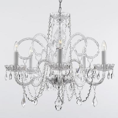 Current Empress Crystal 5 Light Chandelier T40 115 – The Home Depot Regarding Verdell 5 Light Crystal Chandeliers (View 10 of 30)
