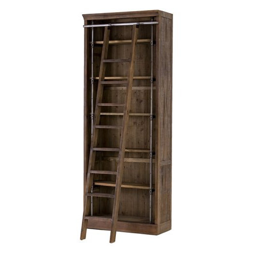 Current French Library Reclaimed Wood Single Bookcase With Ladder, Brown Regarding Rupert Ladder Bookcases (View 2 of 20)