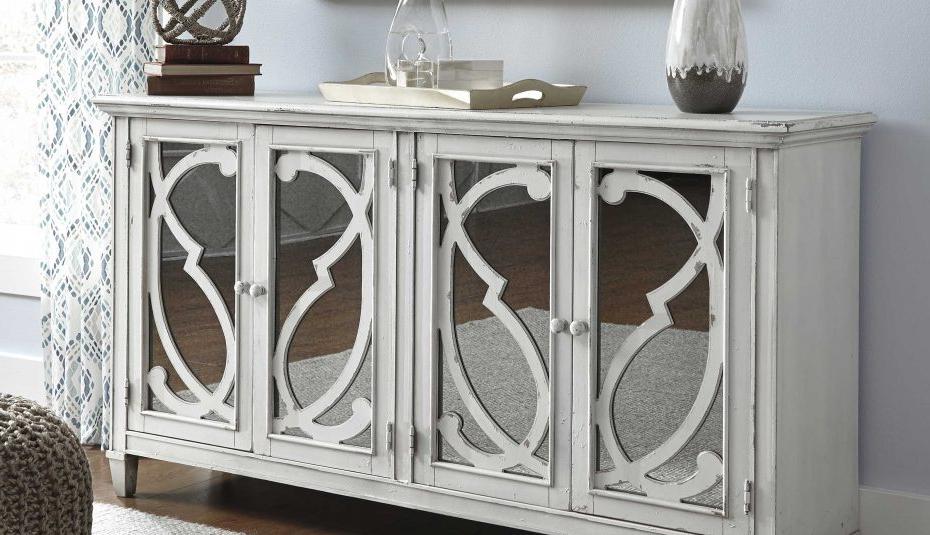 Current Gray Cabinet Oaks Y Vivian Glass White Barn Diondre Kattie In Kattie 4 Door Cabinets (View 14 of 20)