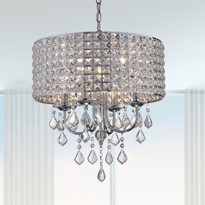 Current Mckamey 4 Light Crystal Chandeliers In Albano 4 Light Crystal Chandelier (Gallery 11 of 30)