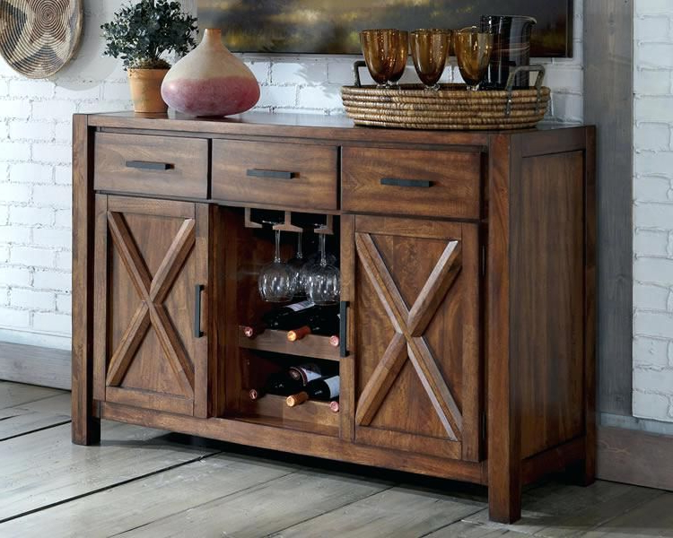 Current Small Sideboard With Wine Rack Sideboards Rustic Sideboards Regarding Sayles Sideboards (View 3 of 20)