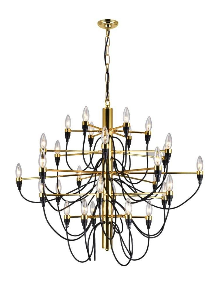 Cwi Lighting 9959p34 30 617 Hayden 34 Inch 30 Light Chandelier In Gold With Regard To Fashionable Hayden 5 Light Shaded Chandeliers (View 22 of 30)