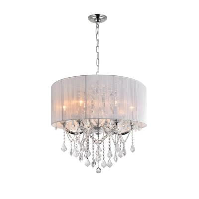 Cwi Lighting Swiss 5 Light Chrome Chandelier With White Throughout Well Known Thresa 5 Light Shaded Chandeliers (View 30 of 30)