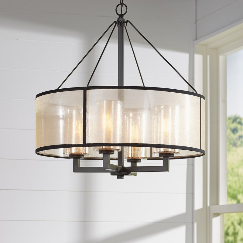 Dailey 4 Light Drum Chandelier With Well Known Wadlington 5 Light Drum Chandeliers (Gallery 14 of 30)