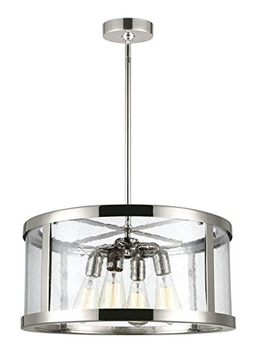 "Dailey 4 Light Drum Chandeliers Inside Widely Used Feiss F3199/4Pn Harrow Glass Multi Light Drum Pendant, Chrome, 4 Light  (20""dia X 10""h) 240Watts (Gallery 15 of 30)"