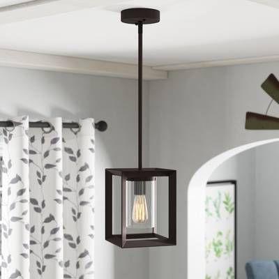 Delon 1 Light Lantern Geometric Pendant In 2019 (Gallery 10 of 30)