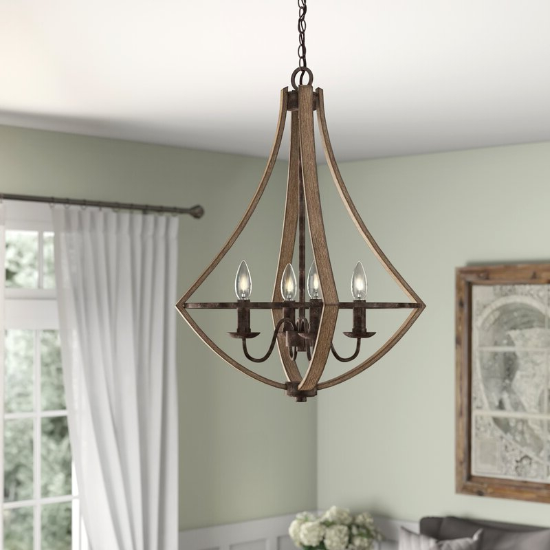 Delon 4 Light Square Chandeliers Intended For Trendy Reimers 4 Light Candle Style Chandelier (Gallery 16 of 30)