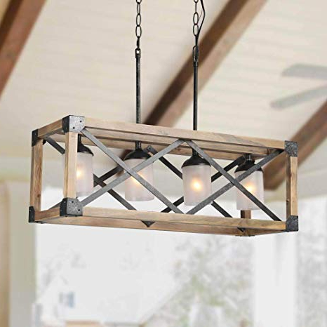 Delon 4 Light Square Chandeliers Throughout Preferred Laluz Wood Kitchen Island Farmhouse Pendant Lighting Hanging Fixture For  Dining Room, 4 Glass Globes, A02989 (Gallery 21 of 30)