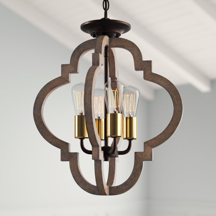 Delon 4 Light Square Chandeliers With Current Kaycee 4 Light Geometric Chandelier (View 11 of 30)