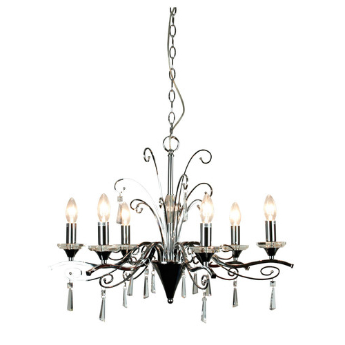 Diaz 6 Light Pendant In Chrome And Crystal With Most Up To Date Diaz 6 Light Candle Style Chandeliers (Gallery 8 of 30)