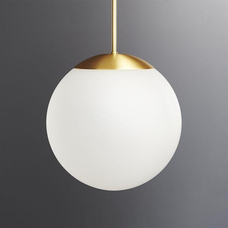 Donna 4 Light Globe Chandeliers Inside Well Known Vega Brass Frosted Globe Pendant Light (View 9 of 30)