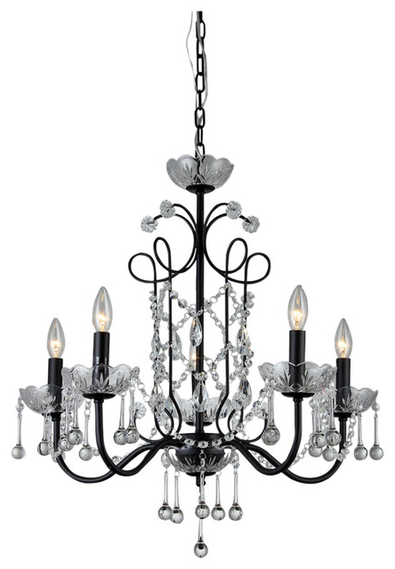 "Donna 6 Light Globe Chandeliers Intended For Widely Used Donna 5 Light Crystal 22"" Black Finish Chandelier (View 24 of 30)"