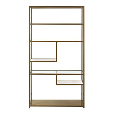 Dorel Living Moriah Geometric Bookcase Etagere, Soft Brass Intended For Most Popular Cleisthenes Geometric Bookcases (View 12 of 20)