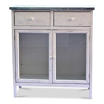 Drummond 3 Drawer Sideboards Within Most Current Farmer's Market Shabby Commode Cabinet, 2 Drawers, Galvanized Metal,  Chicken Wire, Distressed Rustic Finish, White Stained Sustainable Wood, 29  1/2 L (Gallery 13 of 20)