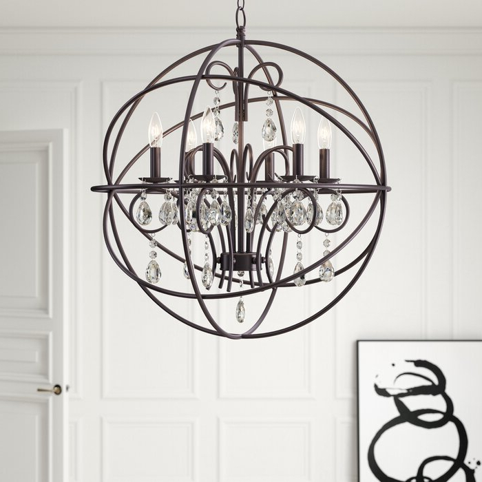Eastbourne 6 Light Unique / Statement Chandeliers For Famous Alden 6 Light Globe Chandelier (Gallery 5 of 30)