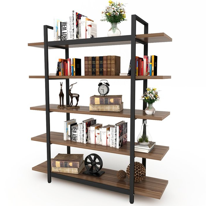 Ebba Etagere Bookcases Inside Well Known Melia Vintage Industrial Style 5 Tier Etagere Bookcase (View 12 of 20)