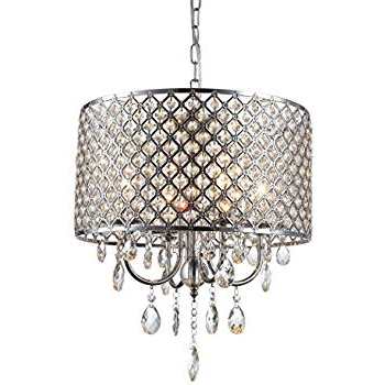 Edvivi Marya 4 Light Chrome Round Crystal Chandelier Ceiling Throughout Preferred Von 4 Light Crystal Chandeliers (View 12 of 30)