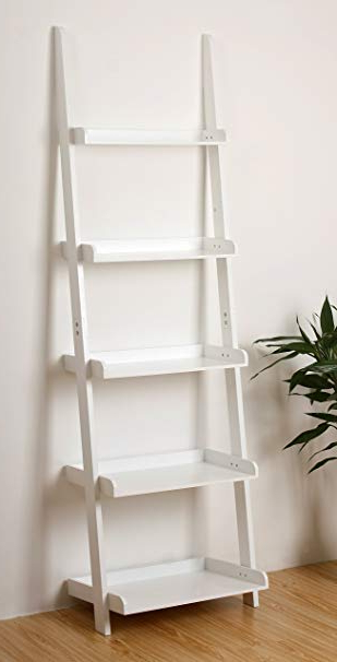 "Ehemco 5 Tier Leaning Ladder Book Shelf In White Finish 21 5/8""w X70""h Regarding Most Up To Date Alfred Ladder Bookcases (View 7 of 20)"
