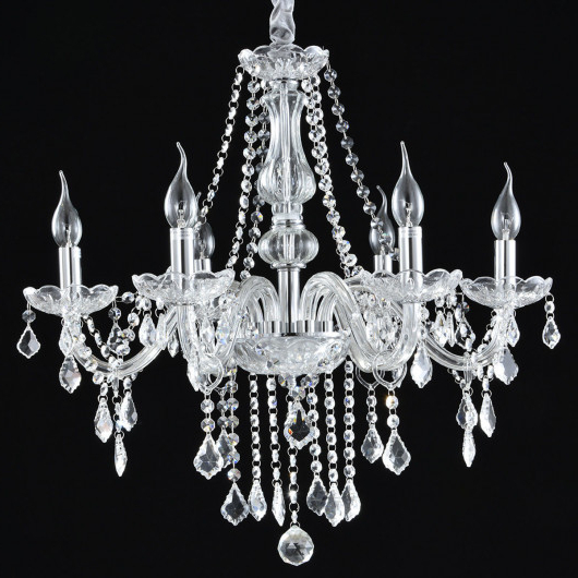 Elegant Crystal Chandelier Ceiling Light For Popular Diaz 6 Light Candle Style Chandeliers (Gallery 28 of 30)