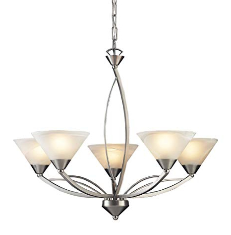 Elk 7637/5 5 Light Chandelier In Satin Nickel And Marbleized White Glass Inside Widely Used Suki 5 Light Shaded Chandeliers (View 17 of 30)