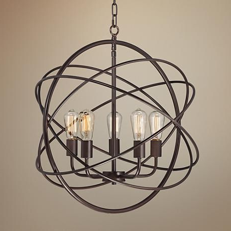 "Ellery 24 3/4"" Wide 5 Light Bronze Sphere Foyer Pendant With Regard To Popular Waldron 5 Light Globe Chandeliers (View 6 of 30)"