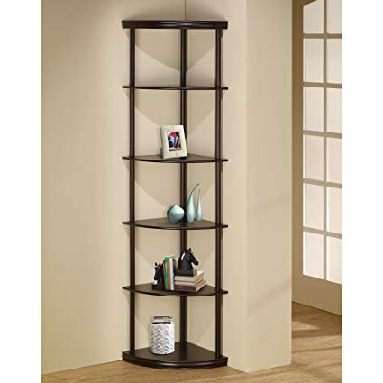 "Emerson Corner Unit Bookcases Inside Fashionable Charlton Home 72"" Open Back Panel Corner Unit Bookcase Espresso, Number Of Shelving Tiers: 5 , Shelf: 13'' H (View 4 of 20)"