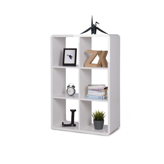 Emerson Shelving Unit In White High Gloss With 6 Compartment Within Famous Emerson Corner Unit Bookcases (View 15 of 20)