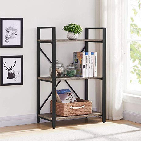 Etagere Bookcases For Most Up To Date Bon Augure Small Bookshelf And Bookcase, 3 Tier Industrial Shelves For Bedroom, Rustic Etagere Bookcases (Dark Gray Oak) (View 3 of 20)