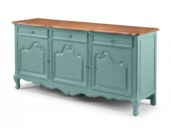 Etienne French Turquoise 3 Door Sideboard In Best And Newest Etienne Sideboards (View 3 of 20)