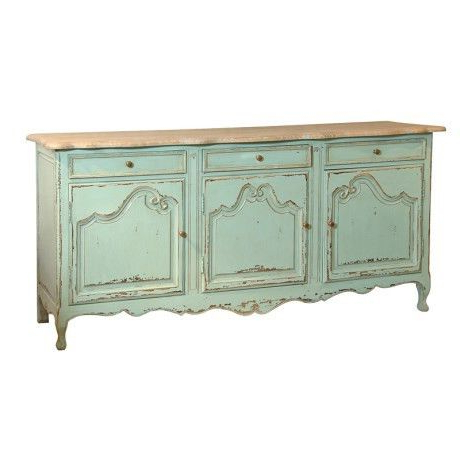 Etienne Sideboards Throughout Best And Newest Etienne Shabby Chic Green 3 Door 3 Drawer Dresser Base (View 8 of 20)