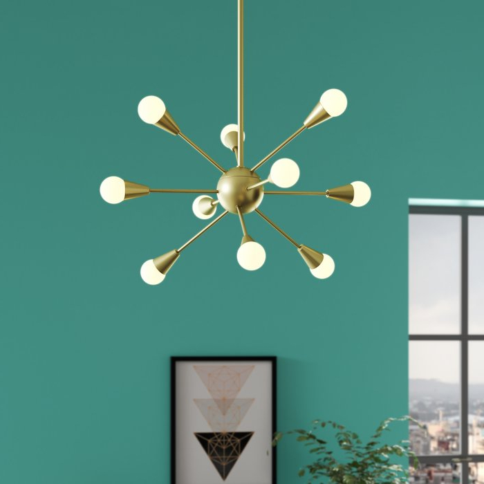 Everett 10 Light Sputnik Chandeliers Pertaining To Well Known Delavega 10 Light Sputnik Chandelier (Gallery 12 of 30)