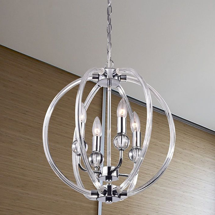 Famous Modern 4 Light Globe Chandelier Orb Pendant Glass Sphere Throughout Hendry 4 Light Globe Chandeliers (Gallery 22 of 30)