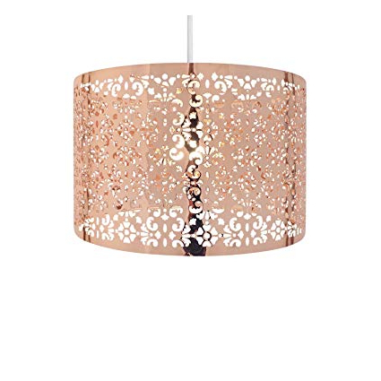 Famous Suki 5 Light Shaded Chandeliers With Country Club 12397556 Large Round Drum Light Shade With Cut Out Pattern  Copper 29Cm (Gallery 20 of 30)