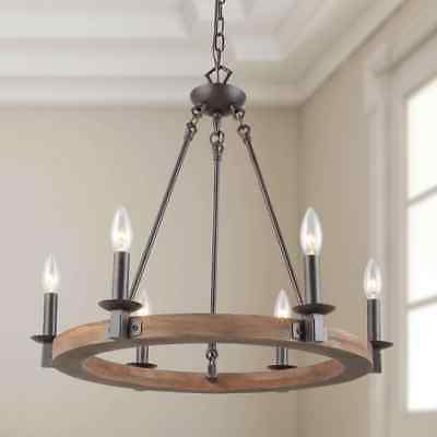 "Famous Vintage 18"" Wood Wagon Wheel Hanging Light Chandelier 4 Within Pickensville 6 Light Wagon Wheel Chandeliers (View 7 of 30)"