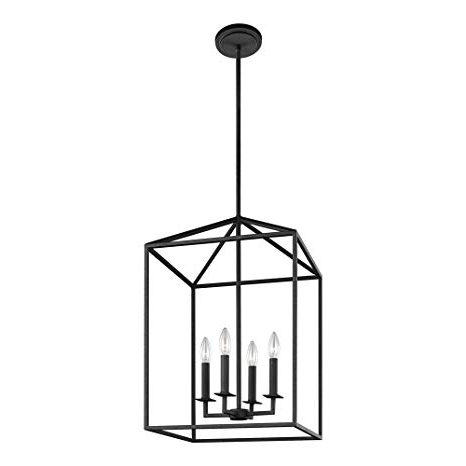 Fashionable 4 Light Lantern Square / Rectangle Pendants For Sea Gull Lighting 5215004 839 Perryton Four Light Hall Or Foyer Light Fixture, Blacksmith Finish (View 16 of 30)