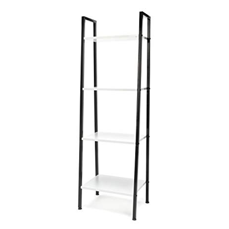 Fashionable 4 Shelf Ladder Bookcase – Modern Free Standing Bookshelf,/white/() Throughout Antoninus Ladder Bookcases (Gallery 18 of 20)