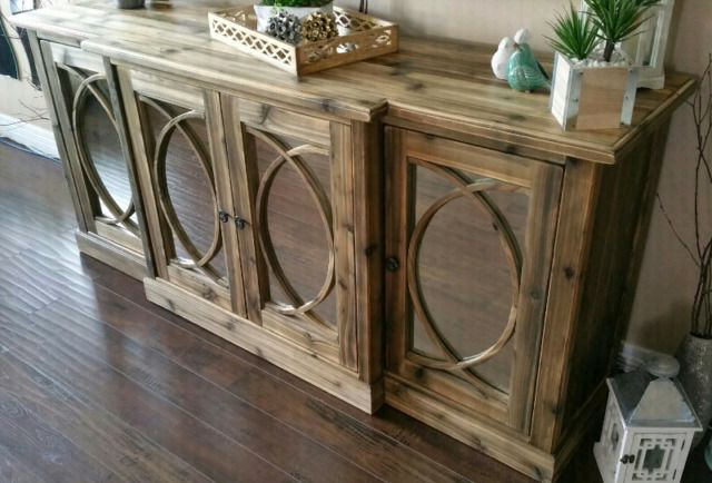 Fashionable Aberdeen Westin Sideboards In Gorgeous Four Mirrored Doors New, Rustic Console Cabinet (View 10 of 20)