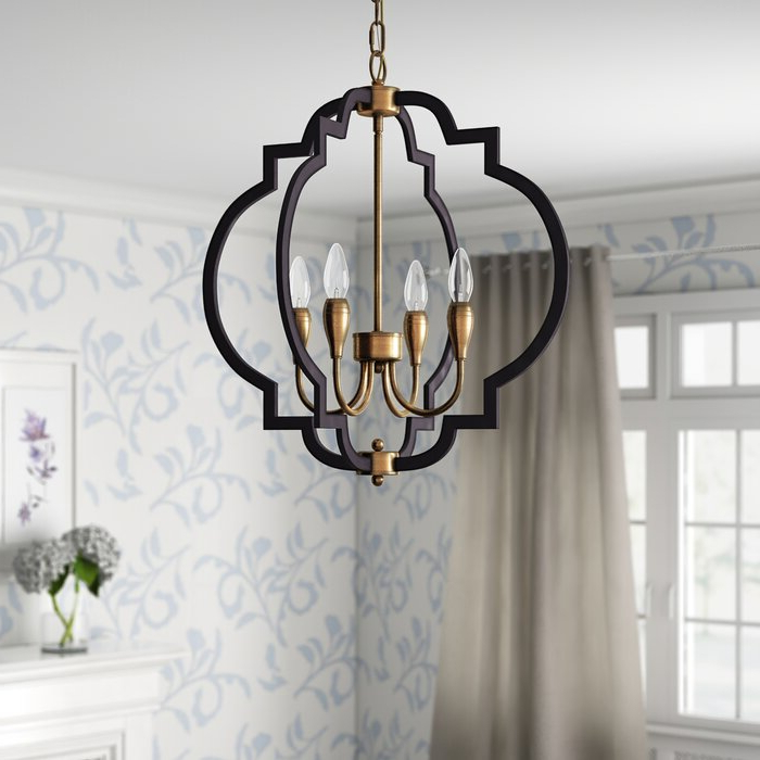 Fashionable Astin 4 Light Geometric Chandelier Pertaining To Lynn 6 Light Geometric Chandeliers (Gallery 8 of 30)