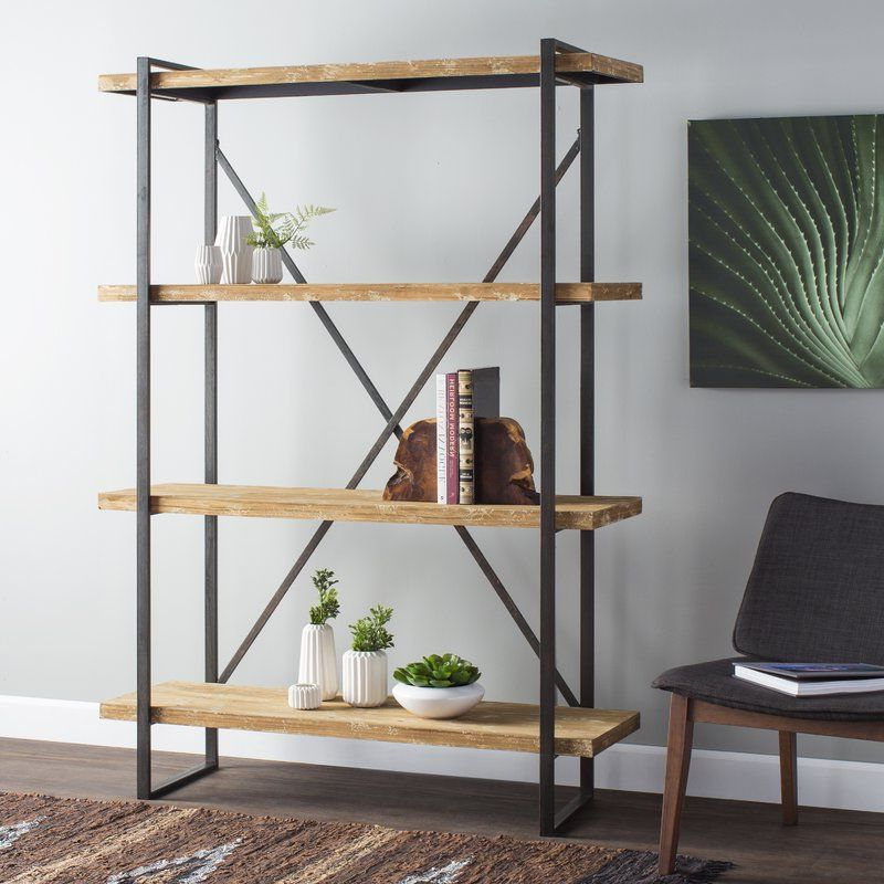 Fashionable Blairs Etagere Bookcases Within Hardwick Metal Wood Bookcase (View 10 of 20)