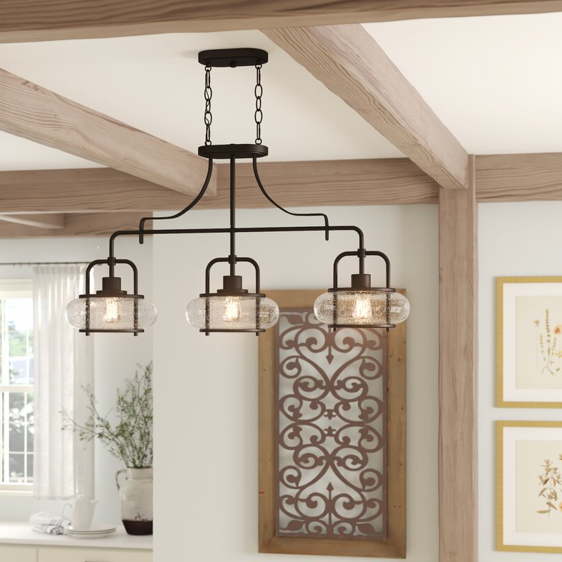 Fashionable Braxton 3 Light Kitchen Island Linear Pendant Pertaining To Destrey 3 Light Lantern Square/rectangle Pendants (Gallery 23 of 30)