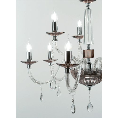 Fashionable Camilla 9 Light Candle Style Chandeliers With Regard To Marzia Chandelier In Smoked Glass And Metal 3 6 Or 9 Lights (Gallery 25 of 30)