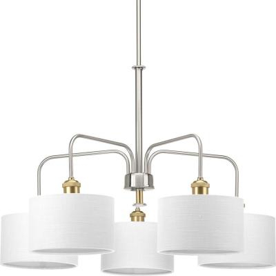 Fashionable Crofoot 5 Light Shaded Chandeliers Throughout Progress Lighting Inspire Collection 5 Light Brushed Nickel (View 13 of 30)