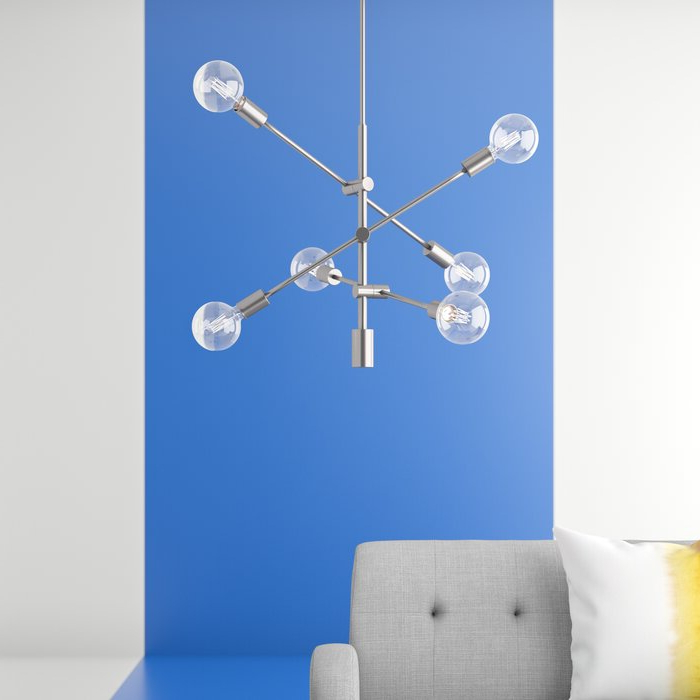 Fashionable Eladia 6 Light Sputnik Chandeliers For Eladia 6 Light Sputnik Chandelier (Gallery 3 of 30)