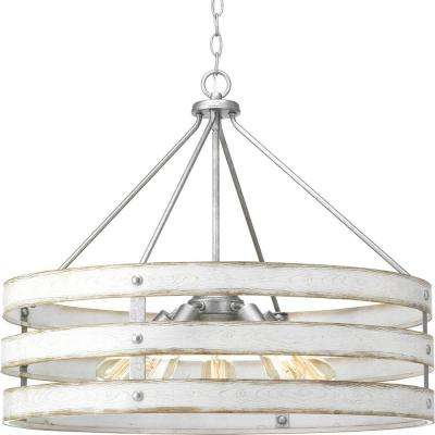 Fashionable Gulliver 5 Light Galvanized Drum Pendant With Weathered White Wood Accents With Regard To Harlan 5 Light Drum Chandeliers (Gallery 20 of 30)