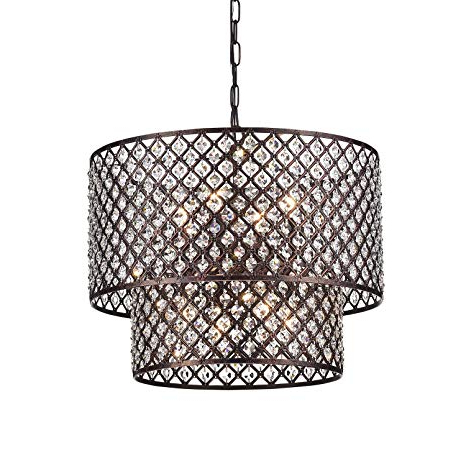 Fashionable Jill 4 Light Drum Chandeliers Inside Edvivi Marya 8 Light Antique Copper Finish Round Dual Drum Crystal Chandelier Ceiling Fixture (View 8 of 30)
