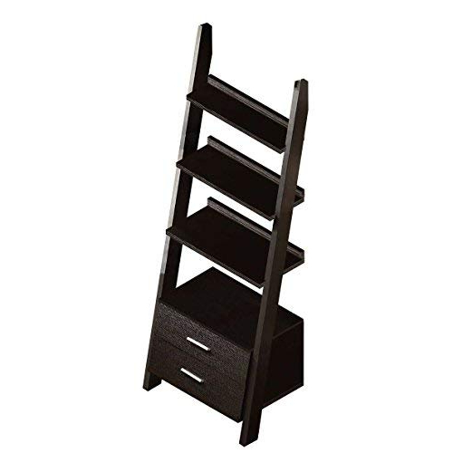 """Fashionable Monarch Specialties I 2542 Ladder Bookcase With Two Storage Drawers, 69"""",  Cappuccino Inside Antoninus Ladder Bookcases (Gallery 12 of 20)"""