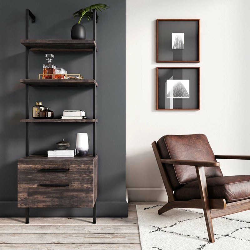 Fashionable Moskowitz Ladder Bookcases Within Moskowitz Open Shelf Industrial Ladder Bookcase (View 18 of 20)