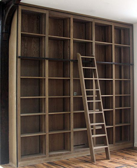 Fashionable Rupert Bevan – Commissions – Fitted Oak And Bronze Bookcases For Rupert Ladder Bookcases (Gallery 14 of 20)